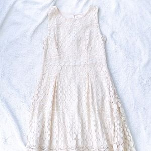 Cream Lace Detail High Low Dress Xhilaration